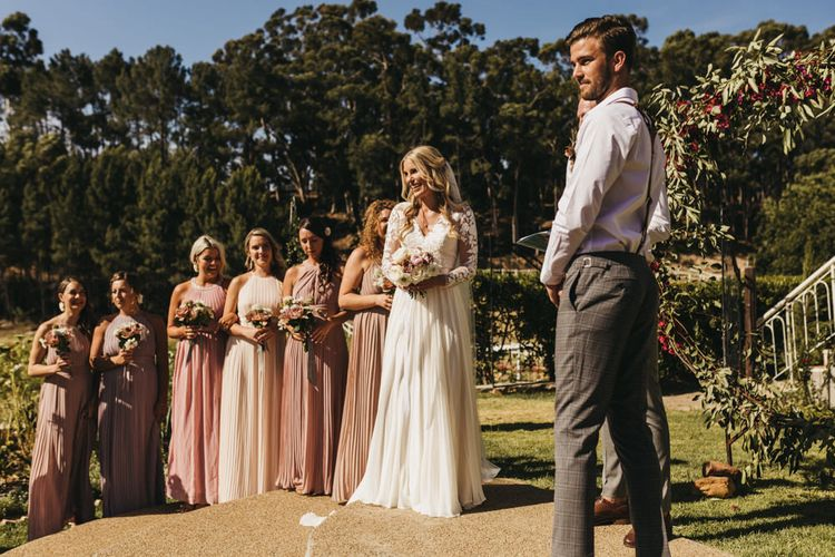 Outdoor wedding ceremony at destination celebration