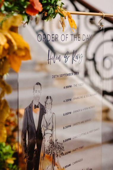 Acrylic wedding sign with illustration by Always Andri Wedding Planner