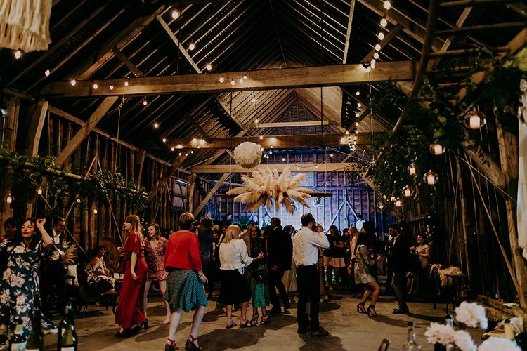 Dry hire barn with rustic wedding decor