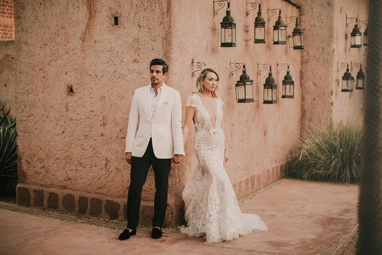 Bride and groom portrait by Pablo Laguia at Marrakech wedding
