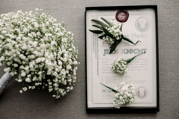 Gypsophila bouquet and button holes