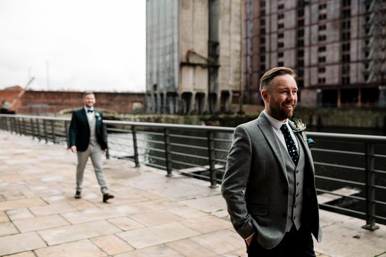 First look for same-sex wedding couple