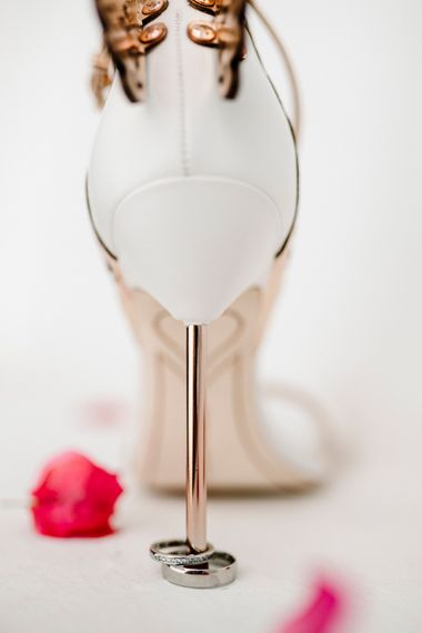 wedding rings and Sophia Webster bridal shoes