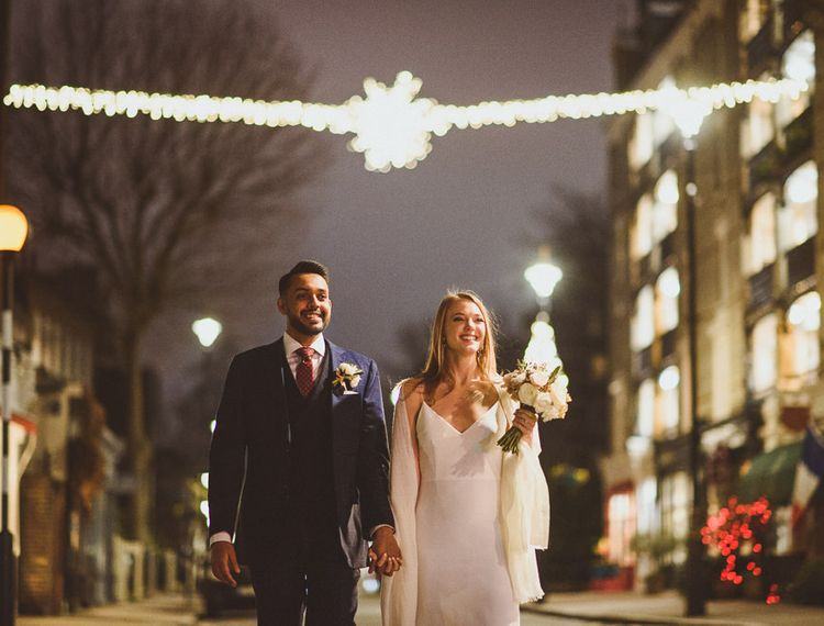 Bride and groom outdoor photography at Christmas