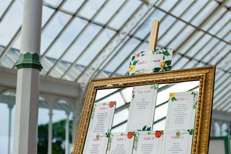 Botanical table plan on gold framed mirror