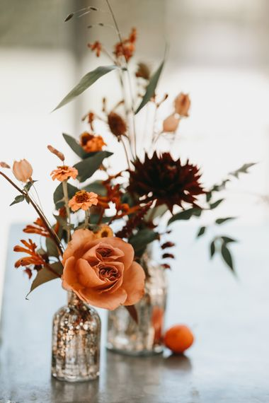 Single stem orange wedding flowers