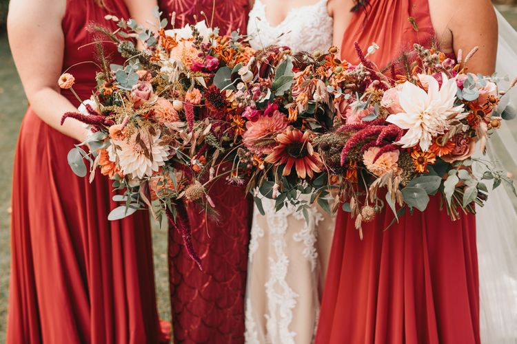 Orange autumn wedding flowers for rustic wedding