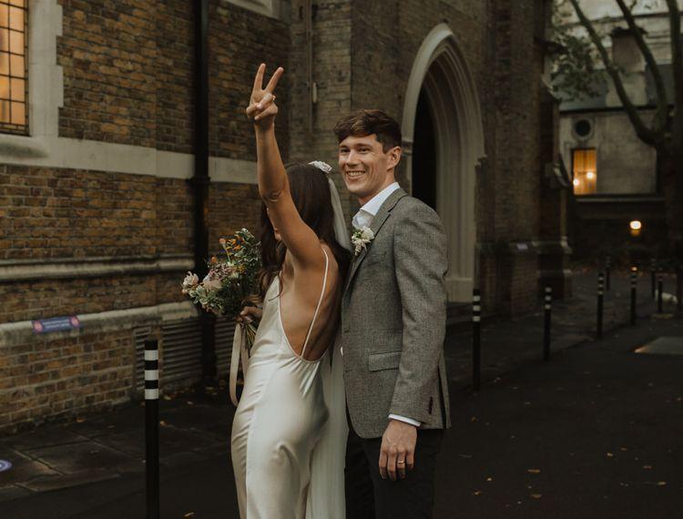 Bride in slip wedding dress at Holy Trinity Brompton Church micro wedding