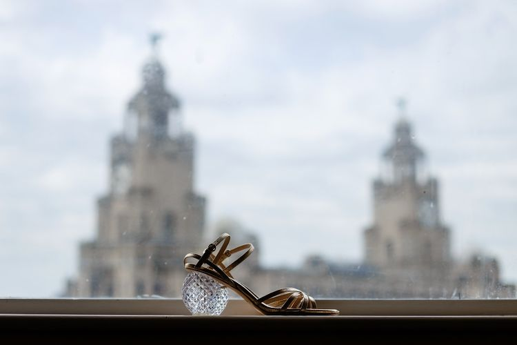 Wedding shoes with glass heels