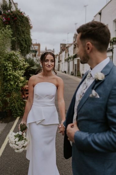 Stylish bride in Roland Mouret dress for intimate micro wedding