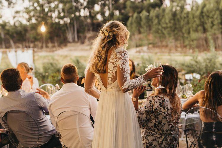 Bride in Catherine Deane wedding dress