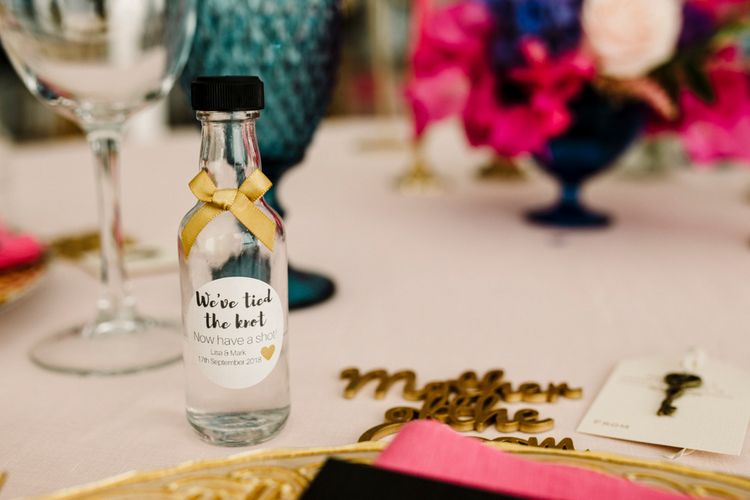 We tied the knot wedding favour miniature bottle