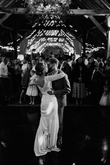 Bride and groom first dance at The Long Barn wedding venue in Hampshire
