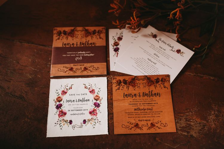 Rustic wedding stationery suite