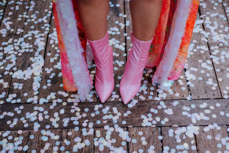 Pink bridal boots