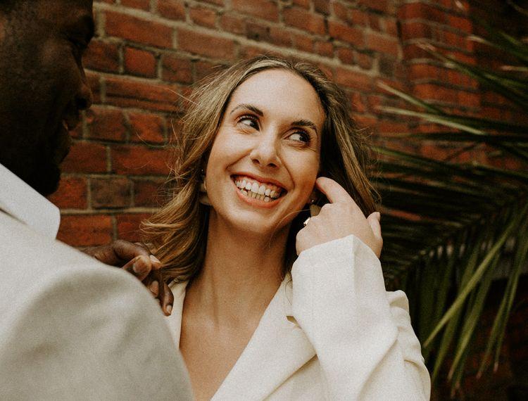 Happy bride at city elopement