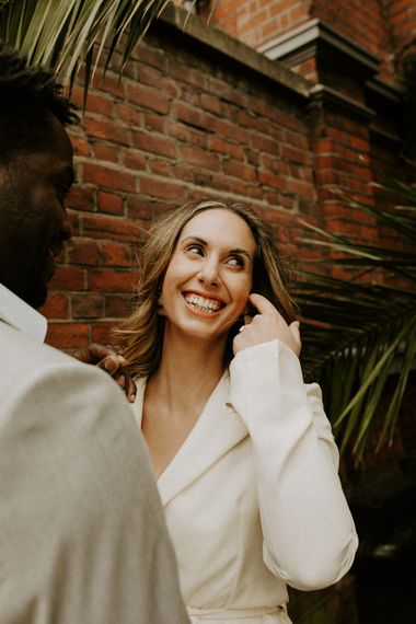Happy bride at city elopement