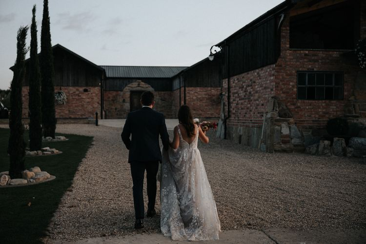 Bride and groom at Willow Marsh Farm wedding