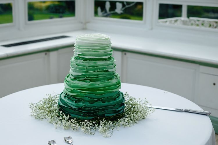 Green ombre wedding cake with ruffles