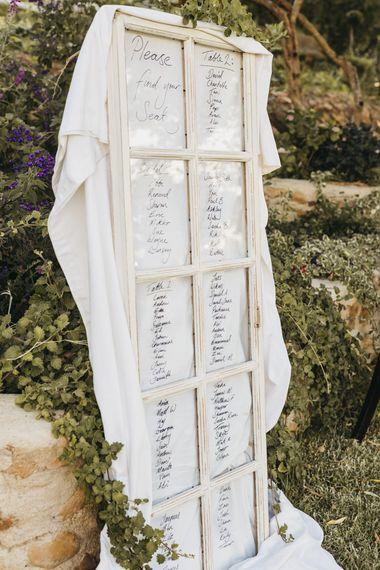 Wedding seating plan at South Africa wedding