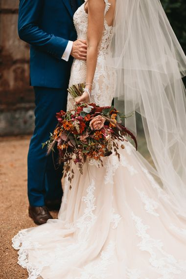 Orange flower autumn wedding bouquet