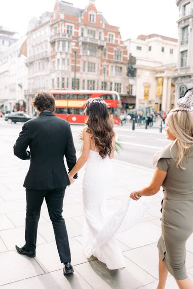 Newly-wed couple on the streets of London
