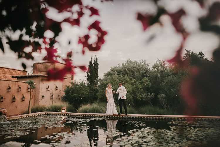 Bride and groom portrait at Marrakech wedding by Pablo Laguia