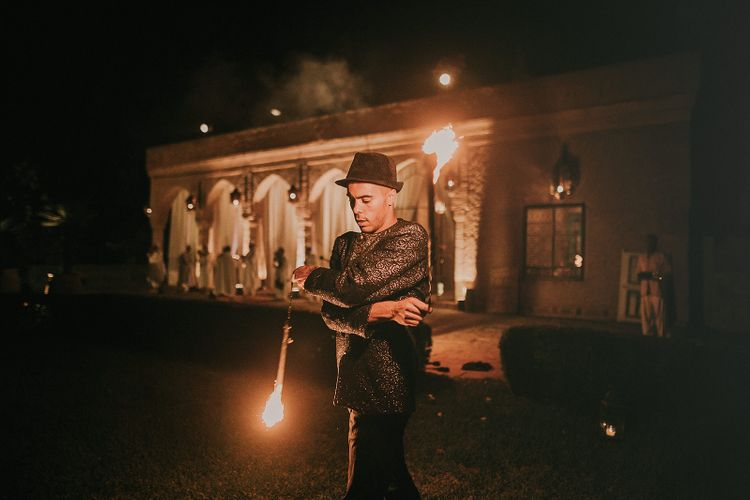 Flame thrower wedding entertainment at Marrakech wedding reception