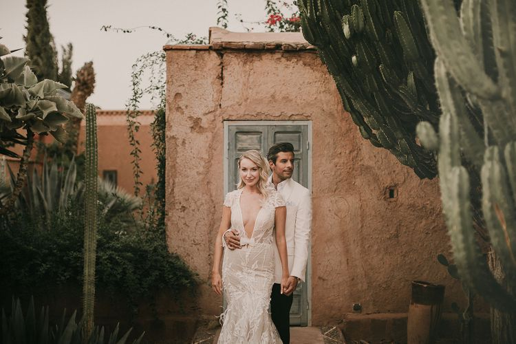 Stylish bride and groom at Marrakech wedding by Pablo Laguia