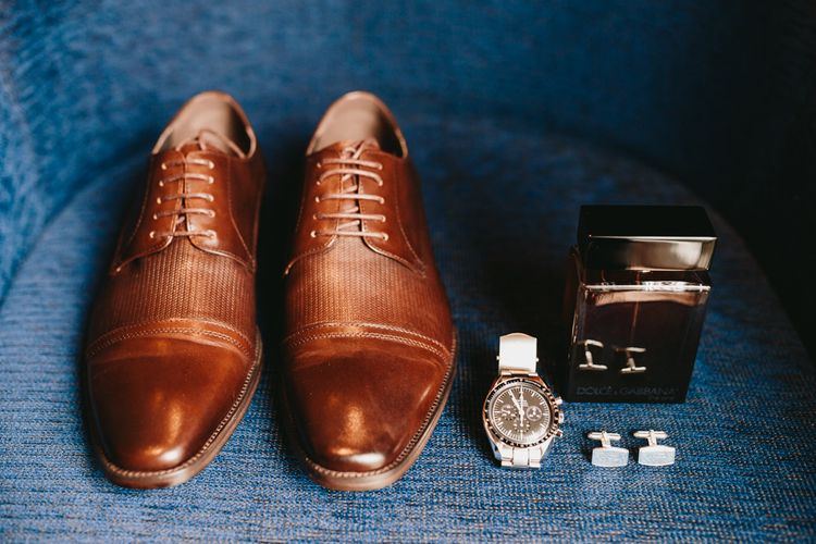 Brown wedding shoes and grooms accessories