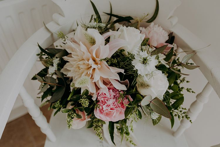 romantic blush pink wedding bouquet