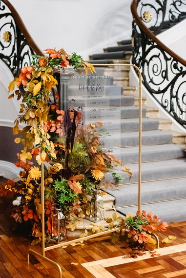 Order of the day acrylic sign for autumn black tie wedding at Carlton House Terrace