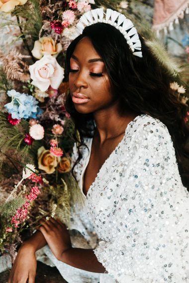 black bride in stylish headdress