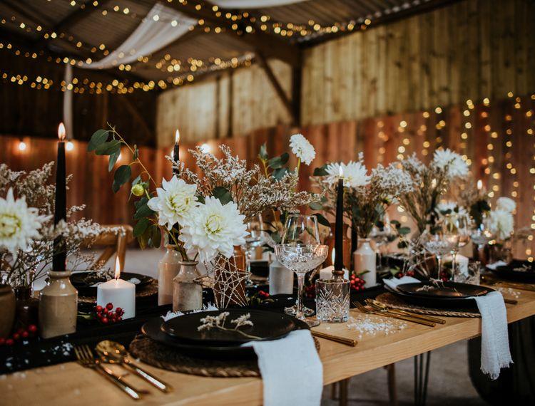 雪白和冬季婚礼的装饰
