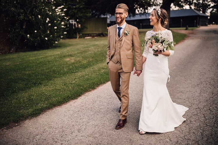 Bride and groom portrait at The Long Barn in Hampshire
