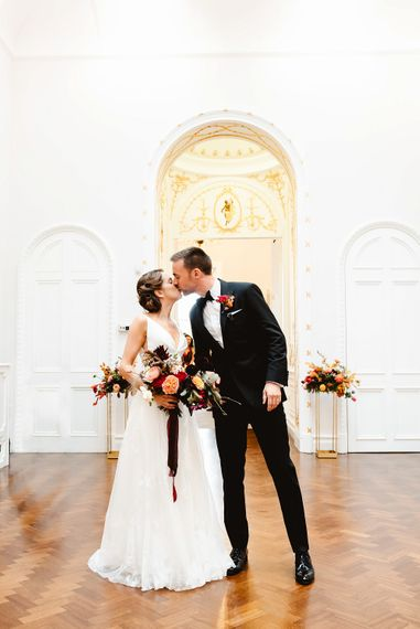 Bride and groom just married at Carlton House Terrace autumn wedding
