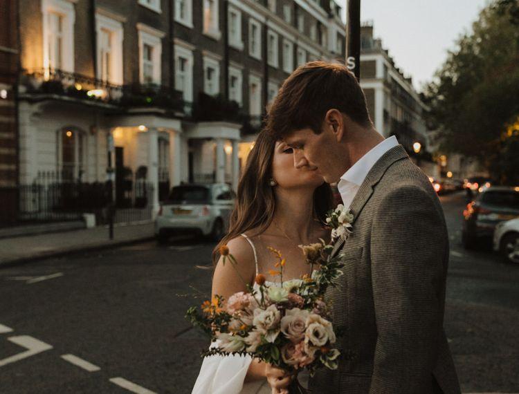 Urban wedding portraits at dusk