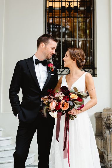 Bride and groom portrait by Fiona Kelly Photography