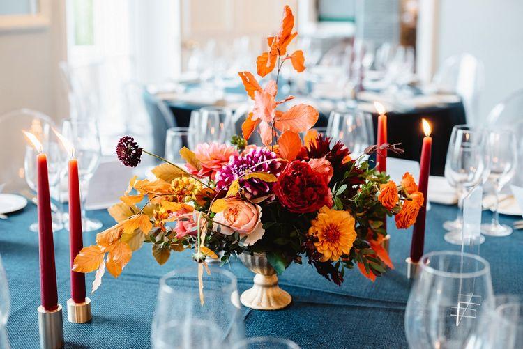 Low autumn wedding flower arrangement