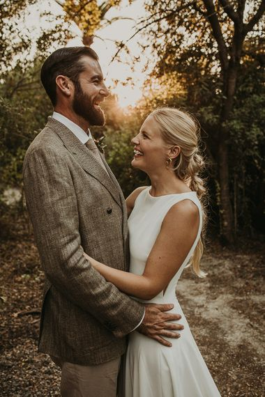 Bride and groom golden hour portrait by Joy Zamora Photography