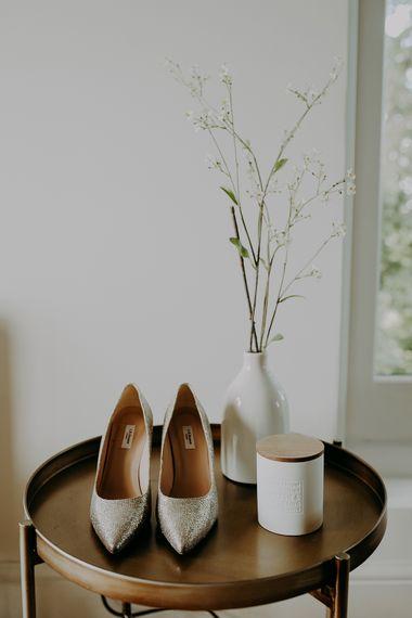 Silver L.K Bennett wedding shoes