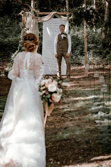 Woodland wedding ceremony bridal entrance