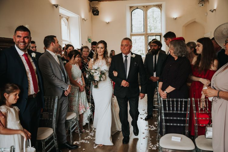 Notley Abbey wedding ceremony bridal entrance with the father of the bride