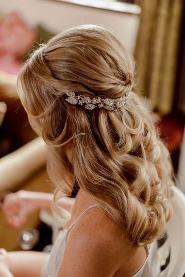Bridal hair with embellished hairpiece