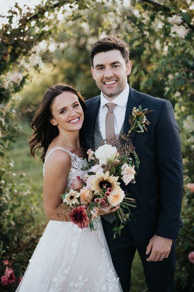 Bride and groom portrait at Willow Marsh Farm wedding