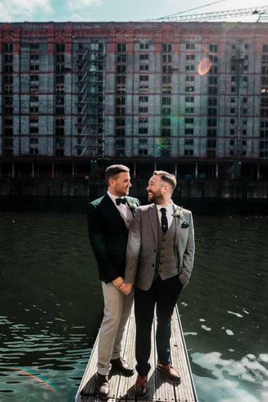 Groom and groom portrait at Stanley Dock by Amy Faith Photography