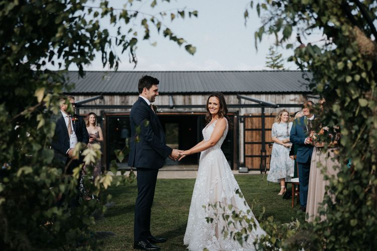 Outdoor wedding ceremony at Willow Marsh Farm
