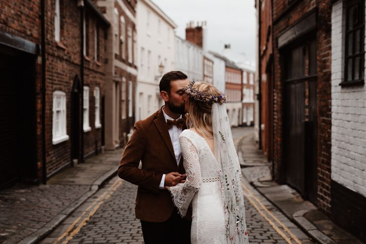 Bride and groom portraits in Chester streets at socially distanced wedding