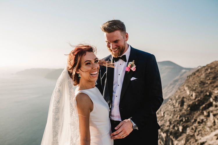 Golden hour portrait at Santorini wedding by Amy Faith Photography