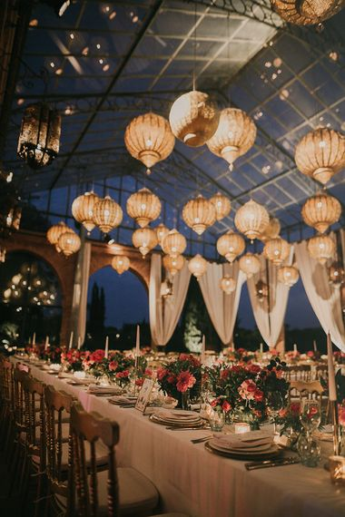 Wedding reception at Beldi Country Club in Marrakech with Moroccan lanterns
